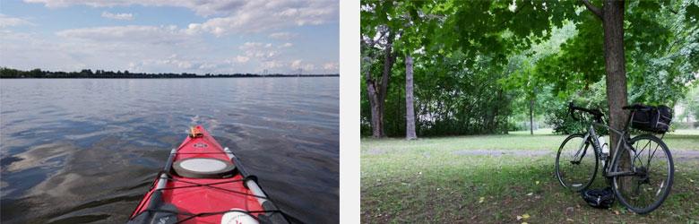 Out kayaking and biking