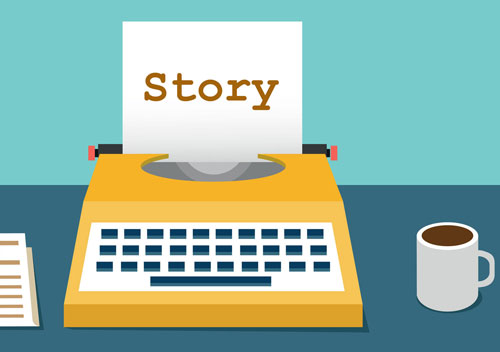 Selling with stories on a typewriter