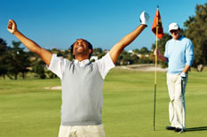 better golfer celebrating