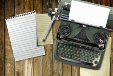 writing drafts with typewriter