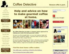 Coffee Detective website screenshot