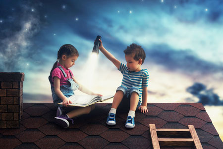 Two kids reading stories